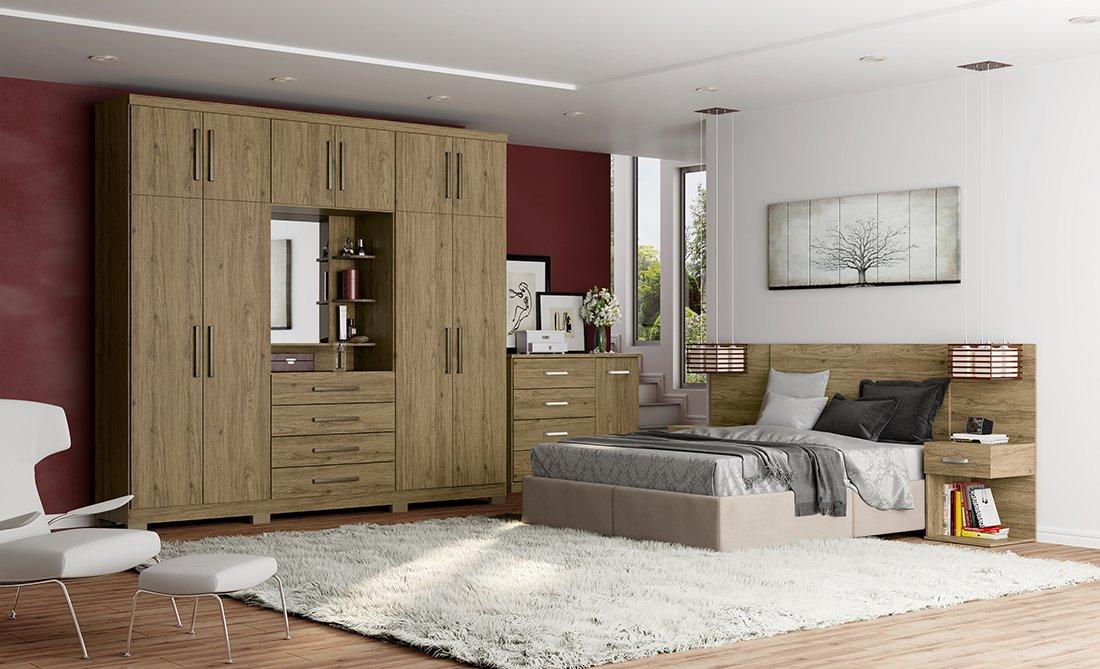 Ambiente de quarto com guarda-roupa, cômoda e cama.