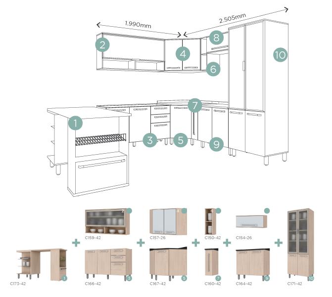 projeto de cozinha modulada